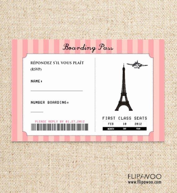Paris Passport Invitation Template Inspirational Paris Boarding Pass Rsvp Card Design by Flipawoo Passport to