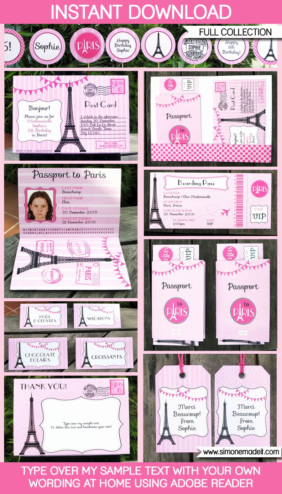 paris party printables invitations
