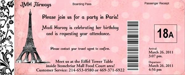 Paris Passport Invitation Template Lovely Paris Passport Birthday Invitation for A Travel theme