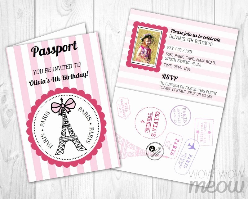 Paris Passport Invitation Template Lovely Paris Passport Invitation Instant Download Add A Pink