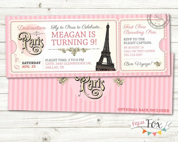 Paris Passport Invitation Template Luxury Paris Birthday Invitation Ticket to Paris Invitation