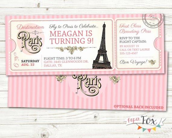 Paris Passport Invitation Template Luxury Paris Birthday Invitation Ticket to Paris Invitation
