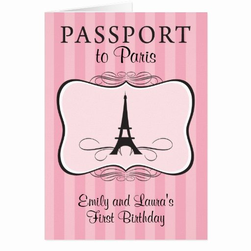 Paris Passport Invitation Template Luxury Twins First Birthday Paris Passport Invitation Stationery