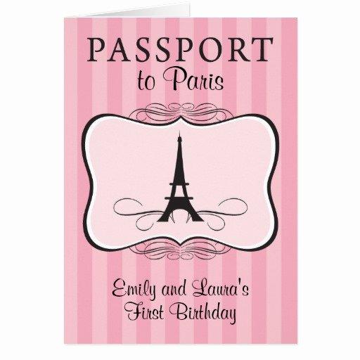 Paris Passport Invitation Template Luxury Twins First Birthday Paris Passport Invitation Stationery