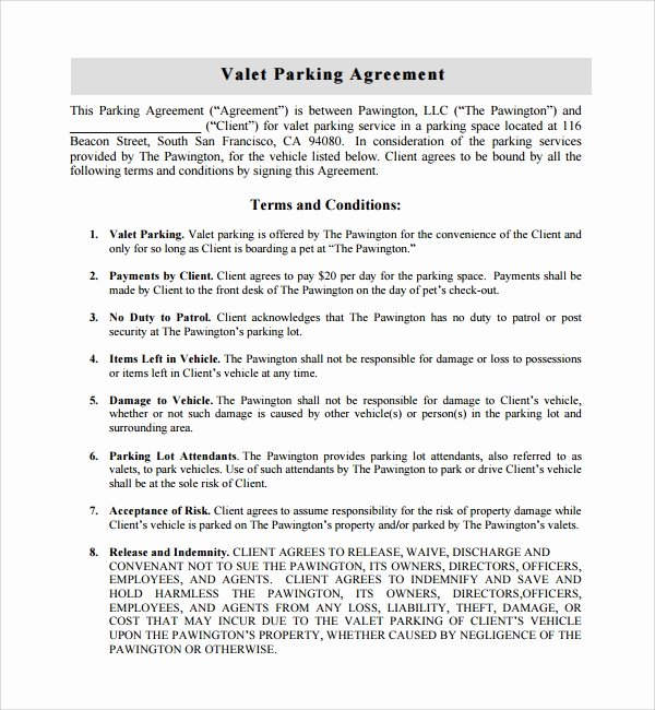 Parking Space Lease Agreement Beautiful Sample Parking Agreement Template 13 Free Documents In Pdf Word