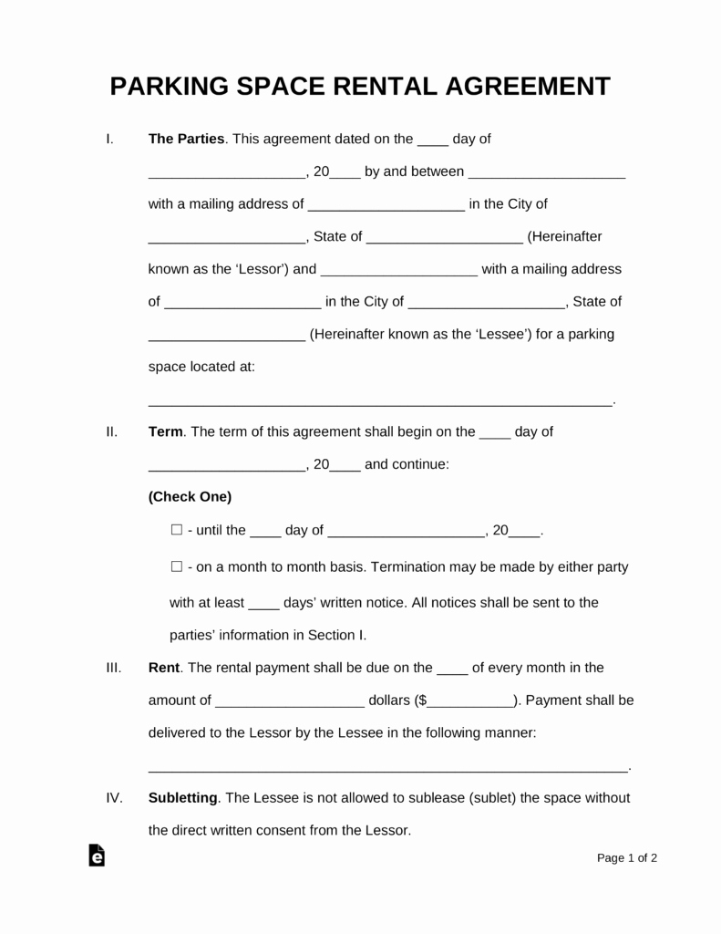 Parking Space Lease Agreement Lovely Free Parking Space Rental Lease Agreement Template Pdf Word
