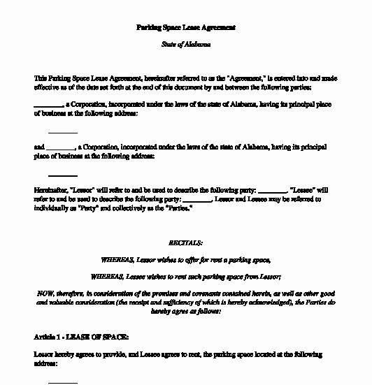 Parking Space Lease Agreement Lovely Sample Lease Agreement Los Angeles