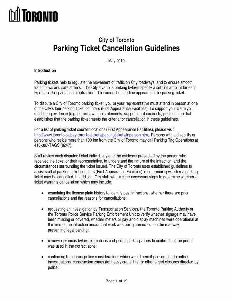 Parking Violation Letter to Tenant Awesome City Of toronto Parking Ticket Rules & Regulations