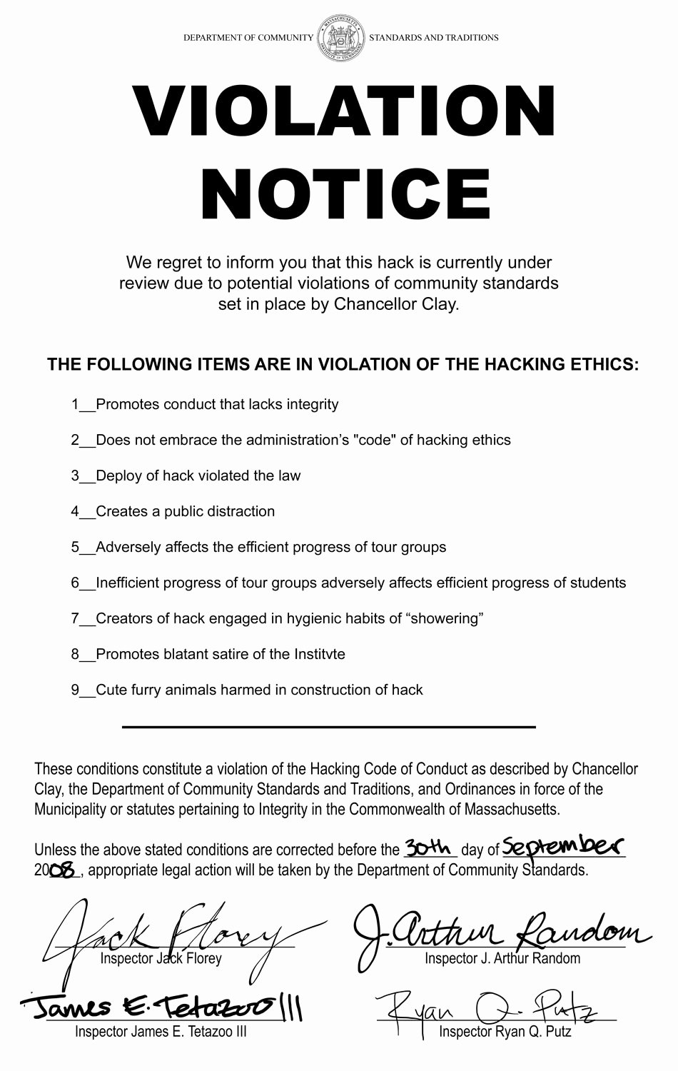 Parking Violation Letter to Tenant Awesome Ihtfp Hack Gallery Violation Notices On Hacks