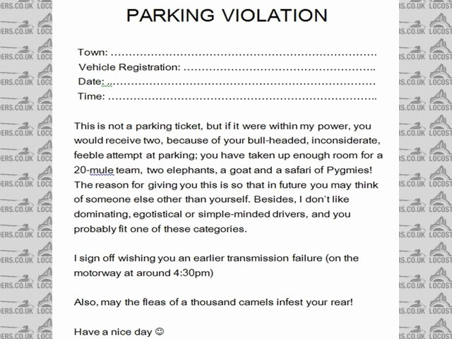 Parking Violation Letter to Tenant Beautiful Best S Of Unauthorized Parking Warning Letter Samples Parking Violation Notice Template