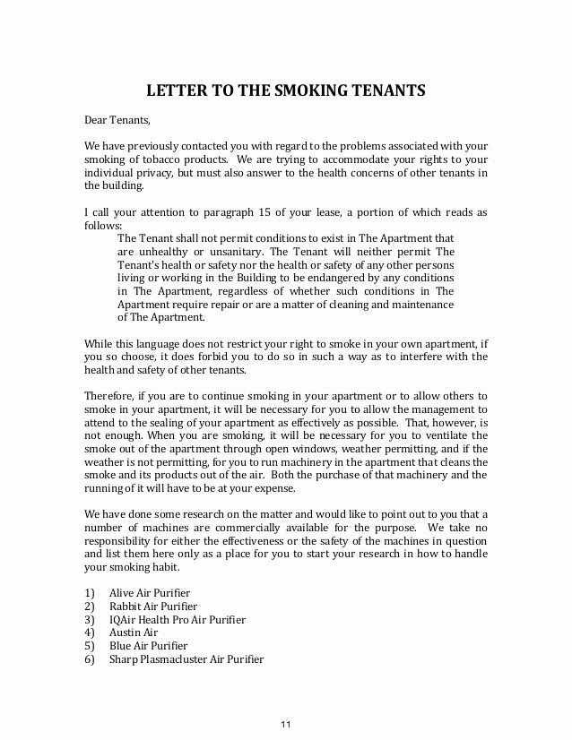Parking Violation Letter to Tenant Best Of Advising Condominiums Cooperatives and Landlords On Smoking issues A…