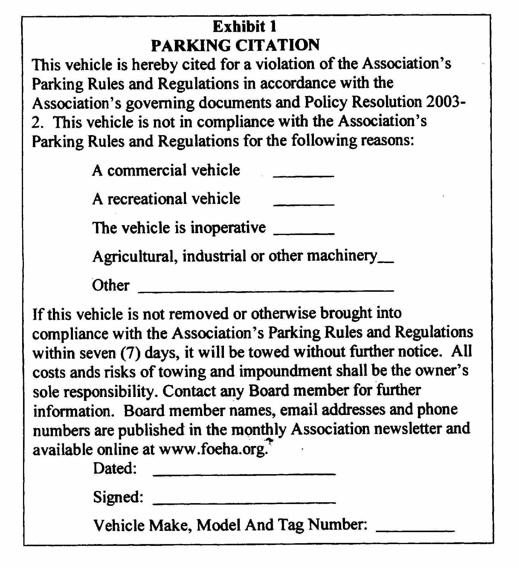 Parking Violation Letter to Tenant New Parking Policy Foeha
