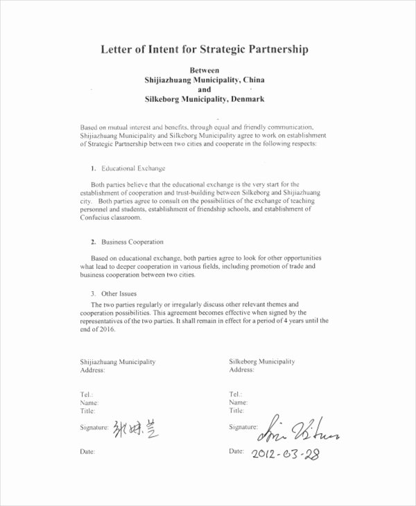 Partnership Letter Of Intent Awesome 25 Letter Of Intent Template Free Sample Example format