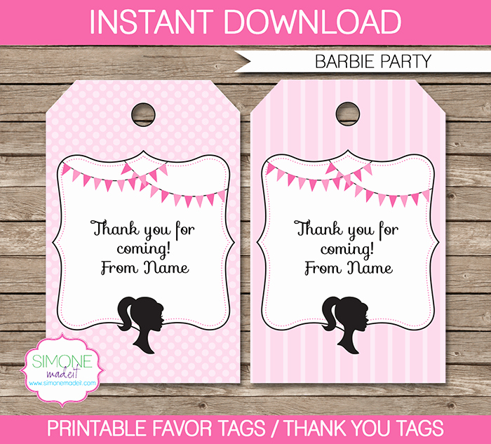 Party Favor Tags Template Awesome Barbie Party Favor Tags Template