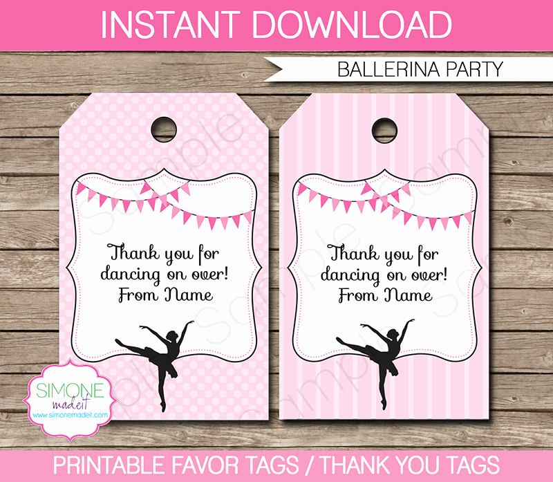Party Favor Tags Template Best Of Ballerina Party Favor Tags Thank You Tags