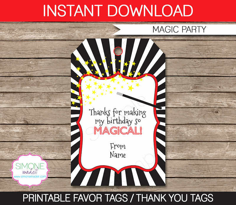 Party Favor Tags Template Best Of Magic Party Favor Tags Thank You Tags