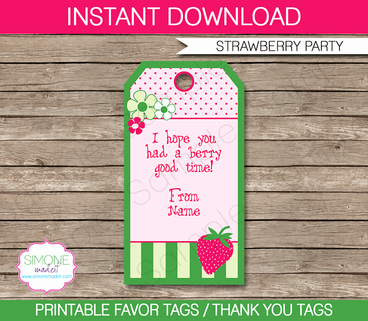 Party Favor Tags Template Best Of Strawberry Shortcake Party Favor Tags