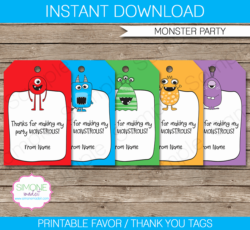 Party Favor Tags Template Fresh Monster Party Favor Tags Thank You Tags