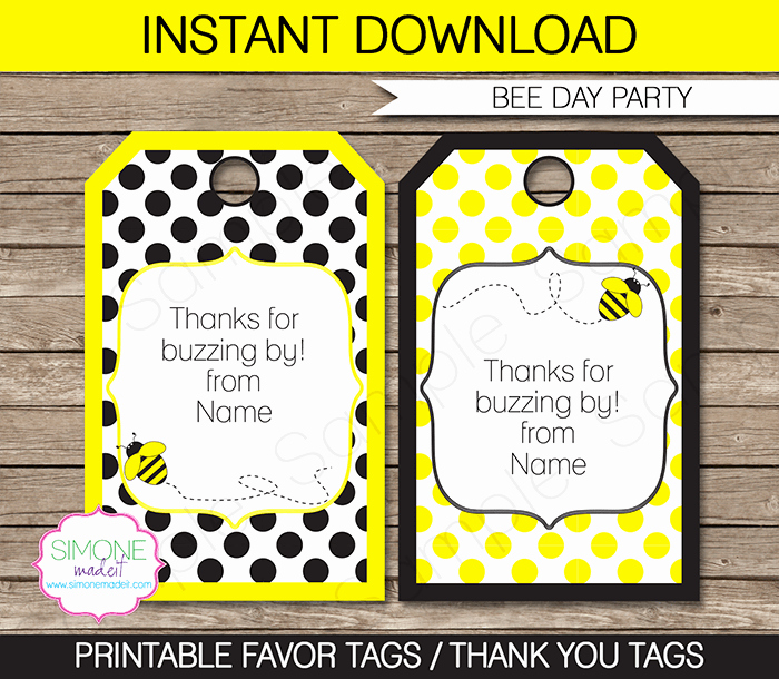 Party Favor Tags Template Lovely Bee Party Favor Tags Template
