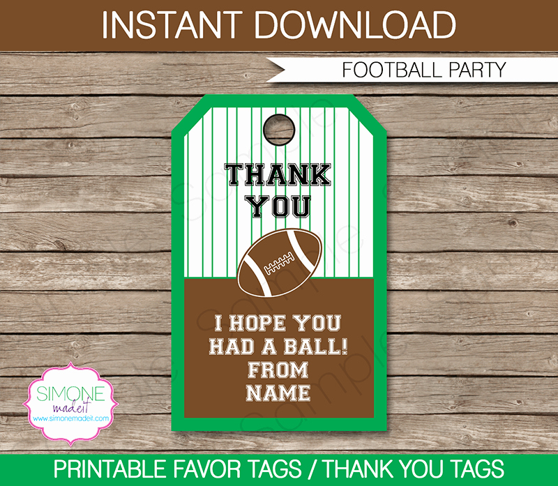Party Favor Tags Template Lovely Football Party Favor Tags Thank You Tags