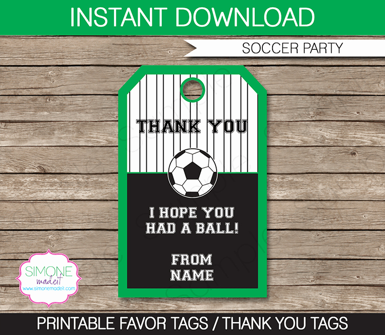 Party Favor Tags Template Lovely soccer Party Favor Tags Thank You Tags