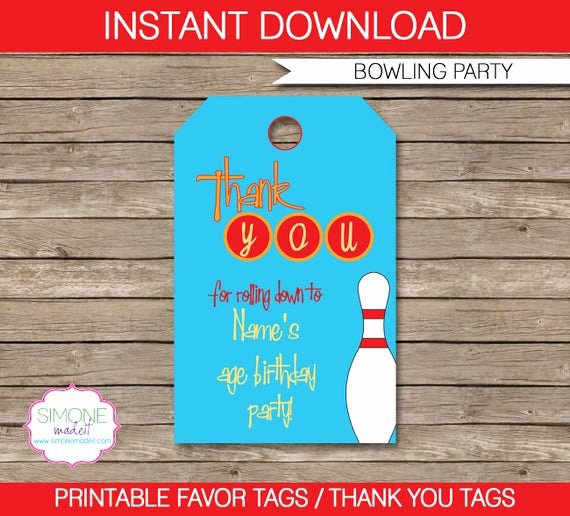 Party Favor Tags Template New Bowling Favor Tags Thank You Tags Birthday Party