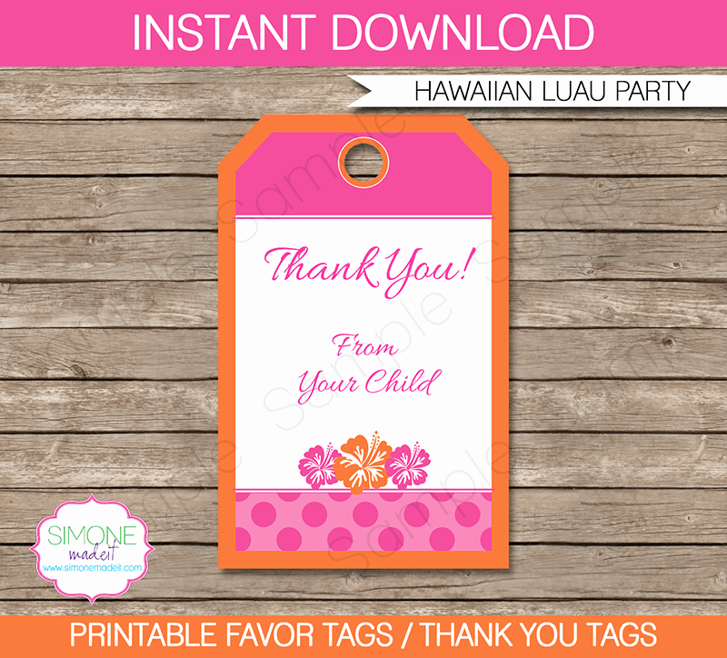 Party Favor Tags Template New Hawaiian Luau Party Favor Tags