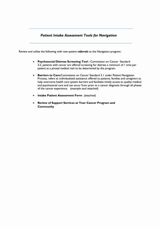 Patient Intake form Pdf Unique Patient Intake assessment tools for Navigation Printable Pdf