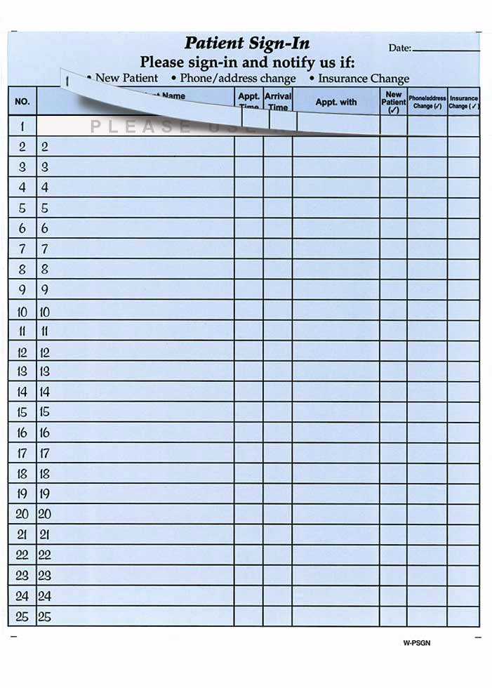 Patient Sign In Sheet Fresh Patient Sign In forms Pliance Made Easy Health forms & Systems Inc