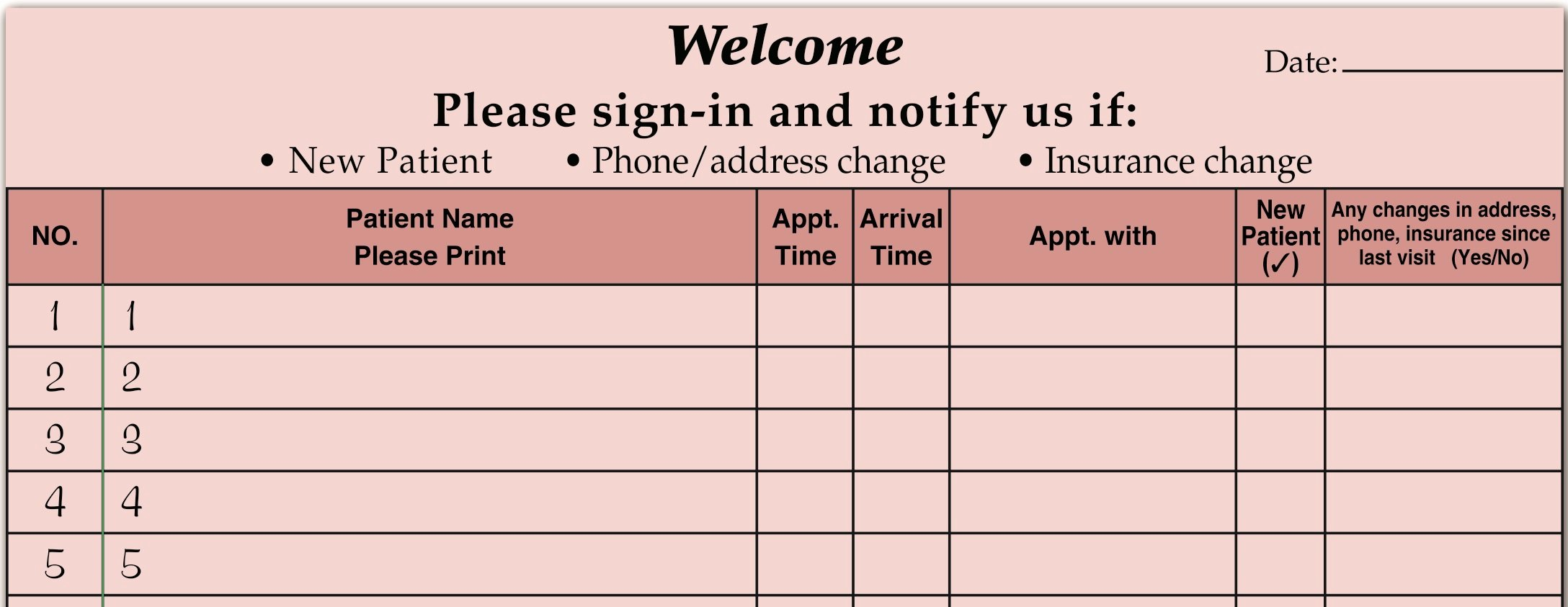 Patient Sign In Sheet Luxury Medical Fice Supplies