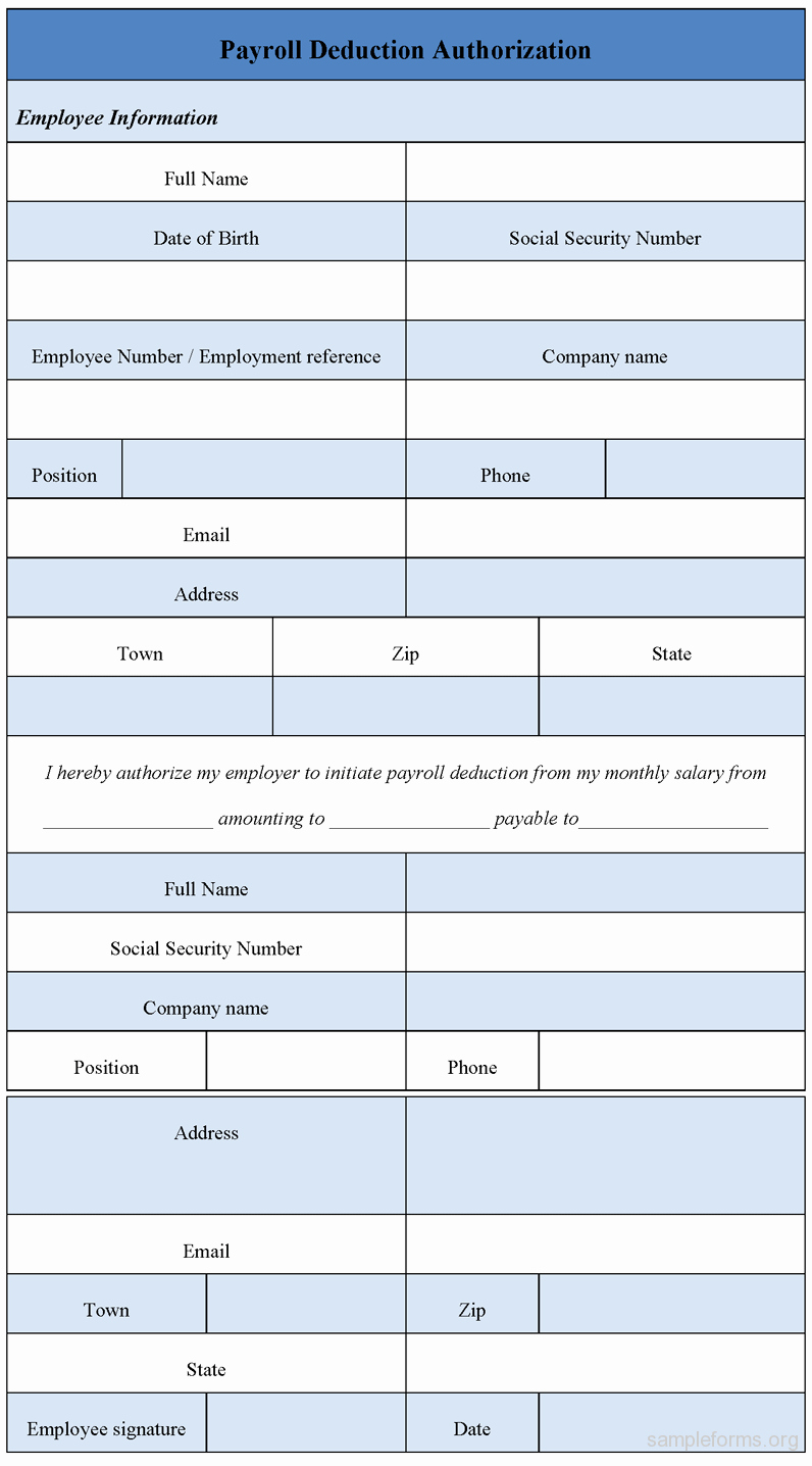 Payroll Deduction Authorization form Beautiful Payroll Deduction Authorization form Sample forms