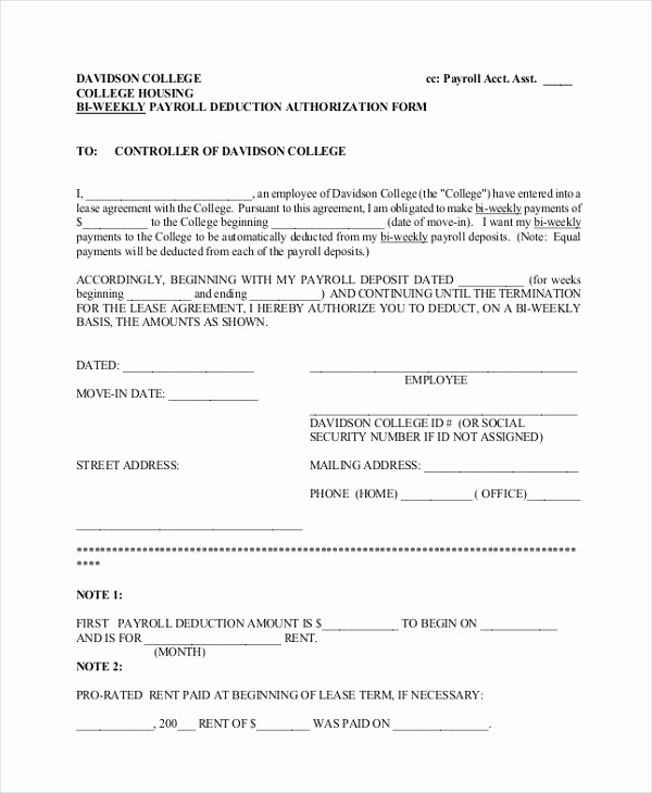Payroll Deduction Authorization form Elegant Free 12 Sample Payrolle Deduction forms