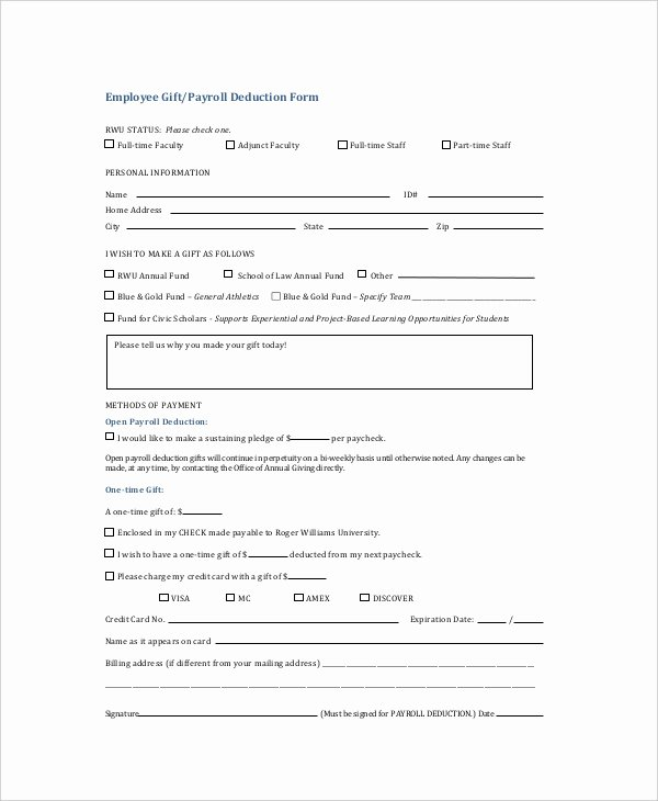 Payroll Deduction Authorization form Inspirational Free 10 Sample Payroll Deduction forms In Pdf