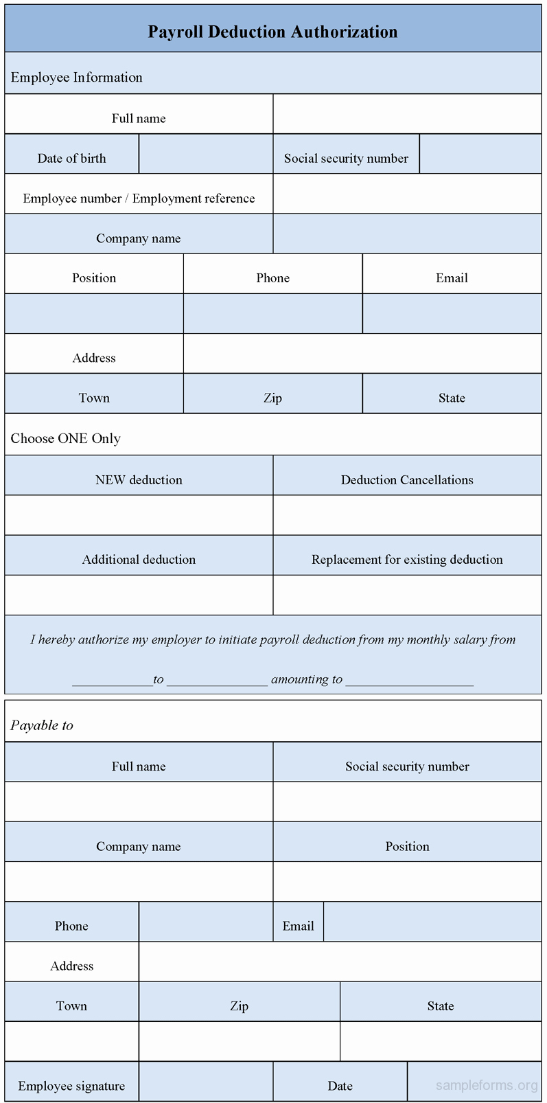 Payroll Deduction Authorization form Luxury Payroll Deduction Authorization form Sample forms