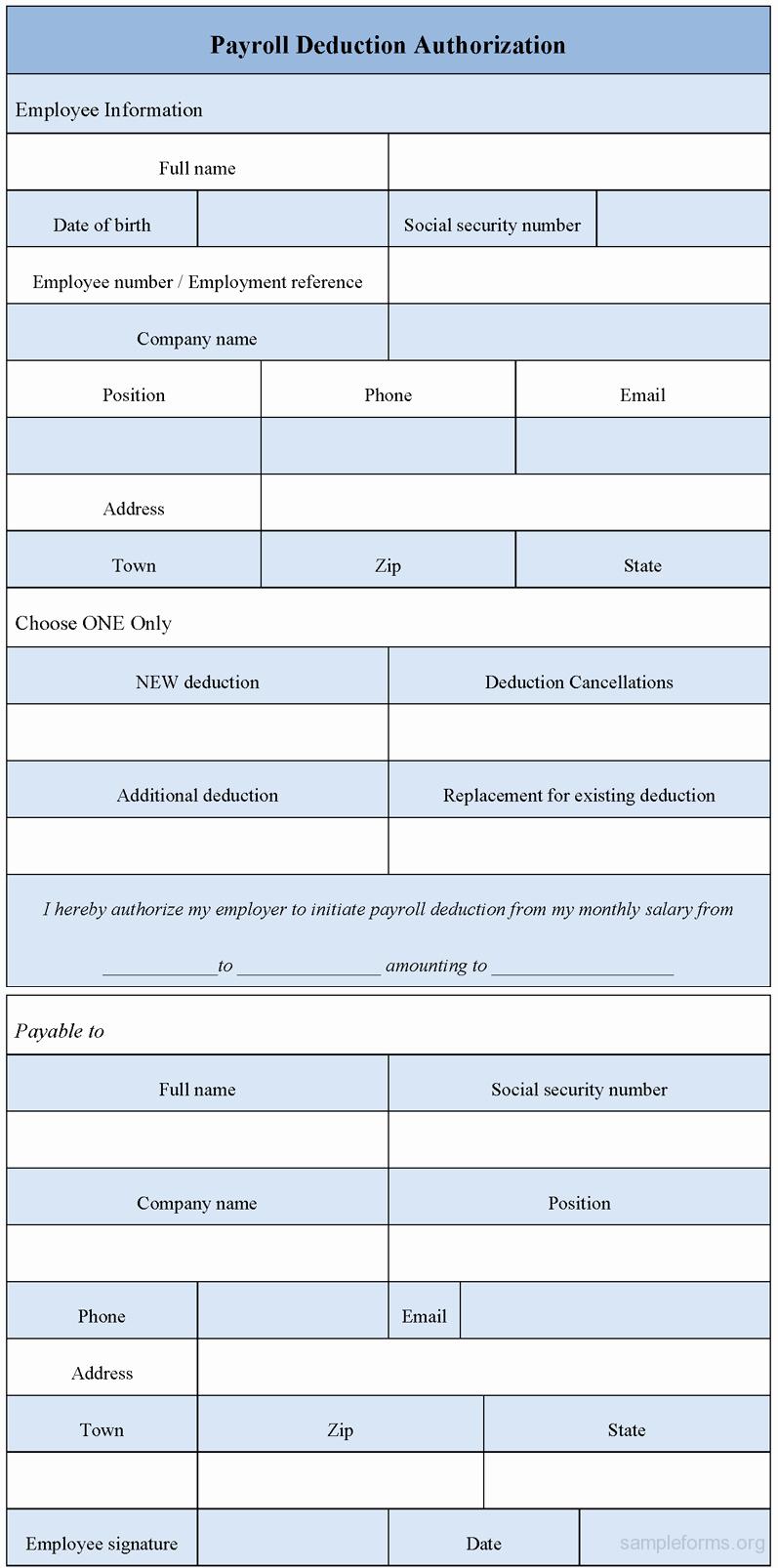Payroll Deduction Authorization form Luxury Payroll Deduction Authorization form Sample forms
