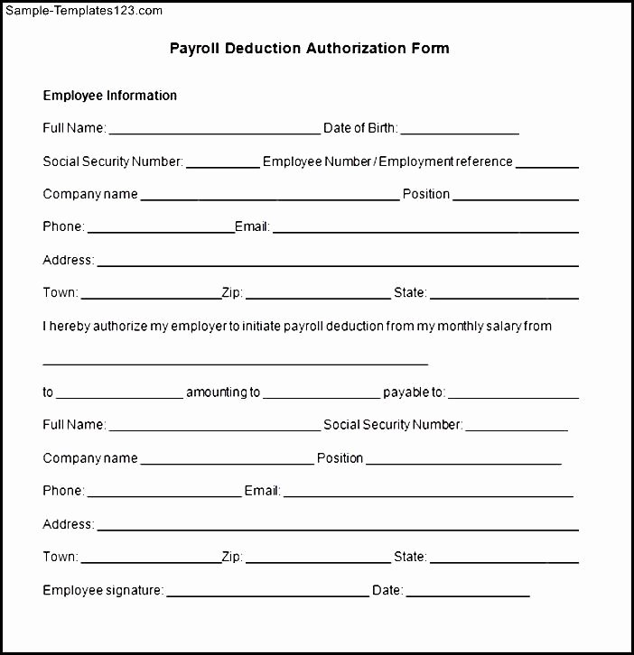Payroll Deduction Authorization form New Payroll Deduction form