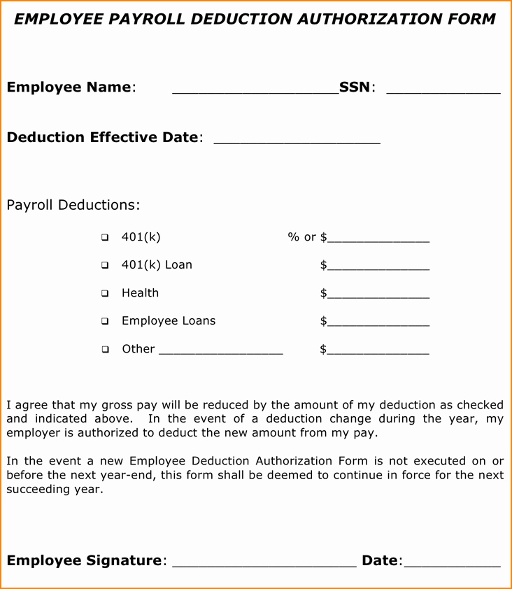Payroll Deduction Authorization form Unique 12 Sample Payroll Deduction forms