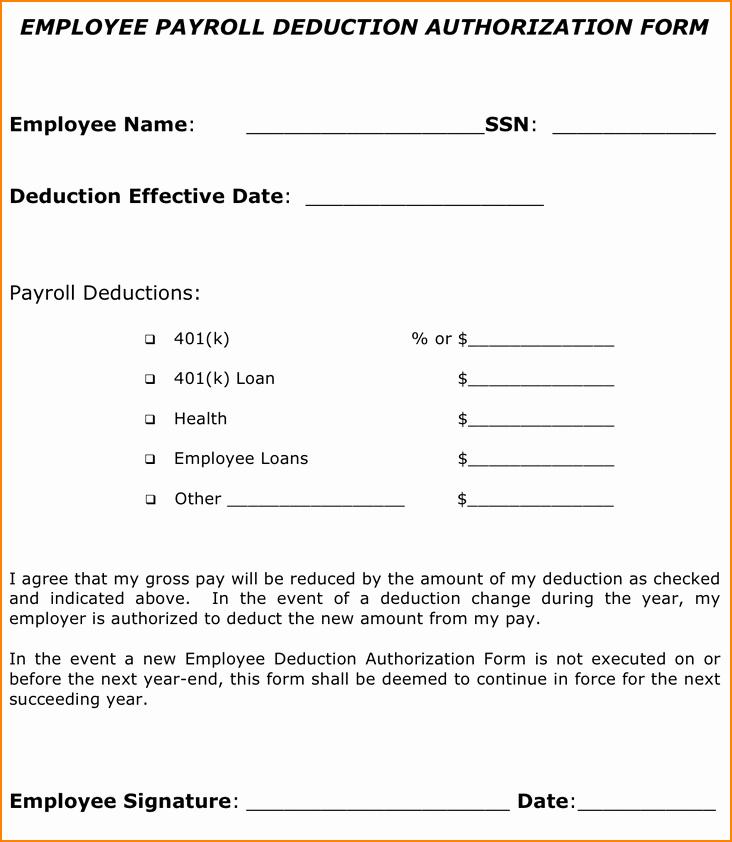 Payroll Deduction Authorization form Unique 12 Sample Payroll Deduction forms