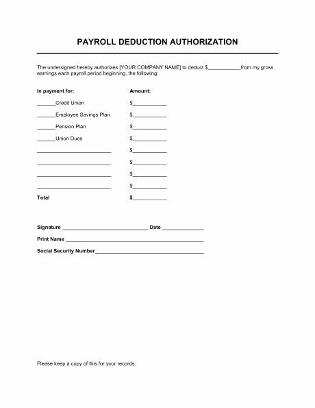 Payroll Deduction Authorization form Unique Payroll Deduction Authorization form Template
