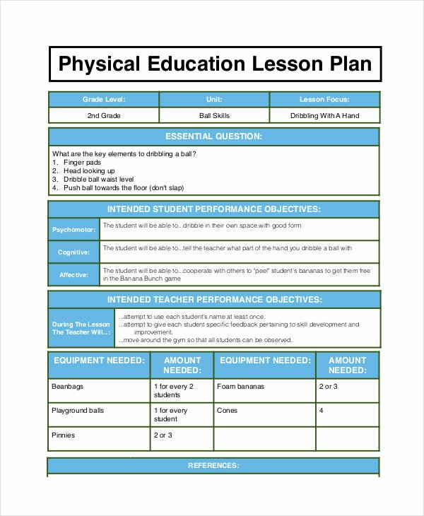 Pe Lesson Plan Template Beautiful Physical Education Lesson Plan Template to Pin On Pinterest Pinsdaddy