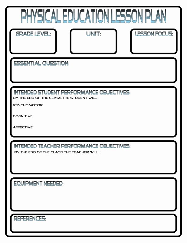 Pe Lesson Plan Template Lovely Lesson Plans Phys Ed Review