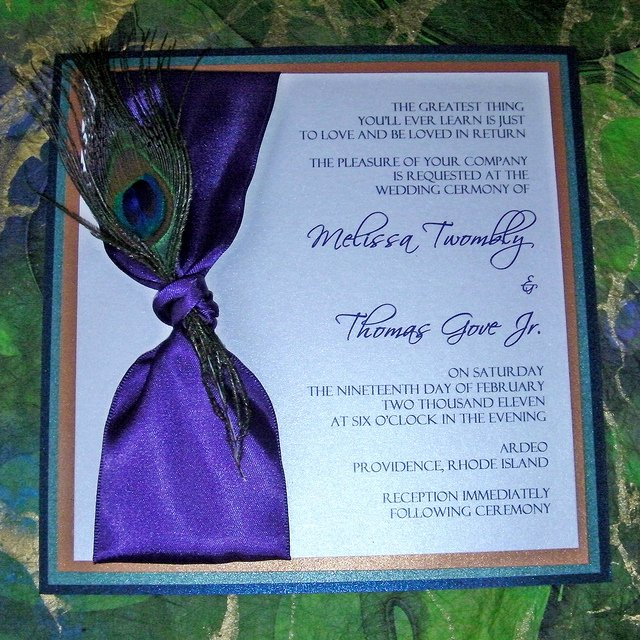 Peacock Feather Wedding Invitations Awesome Peacock Wedding Invitations with Feather