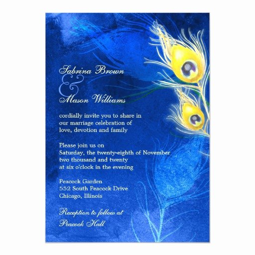 Peacock Feather Wedding Invitations Beautiful Gold Peacock Feathers Cobalt Blue Wedding Invites
