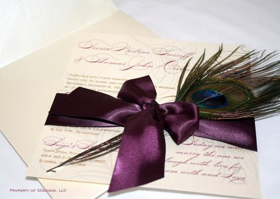 Peacock Feather Wedding Invitations Beautiful Peacock Wedding Invitations Real Feather No Pocket