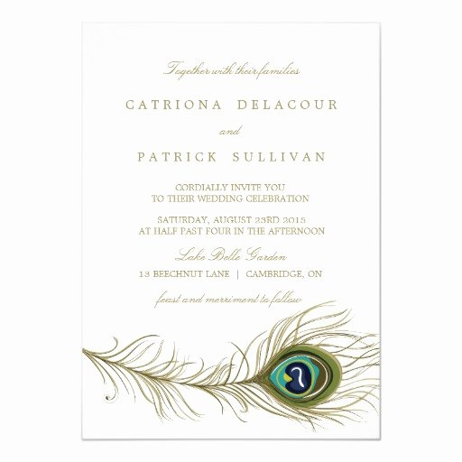 "Peacock Feather Wedding Invitations Beautiful Whimsical Peacock Feather Wedding Invitation 5"" X 7"" Invitation Card"