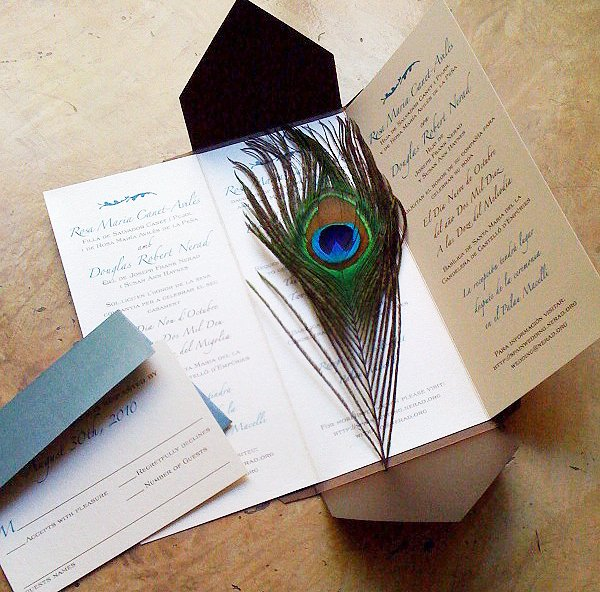 Peacock Feather Wedding Invitations Best Of [custom Wedding Invitation] Trilingual Peacock Feather – Papercake Designs