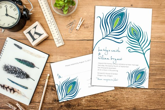 Peacock Feather Wedding Invitations Best Of Peacock Feathers Wedding Invitation Set Feather Wedding