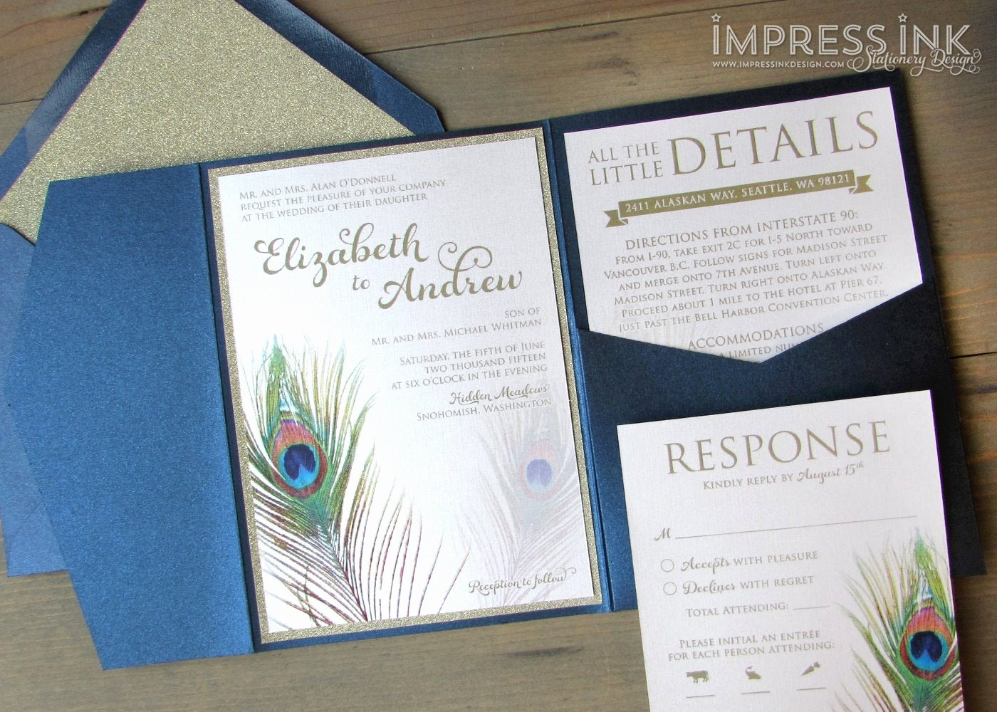 Peacock Feather Wedding Invitations Elegant Peacock Feather Wedding Invitation Sample Flat or Pocket