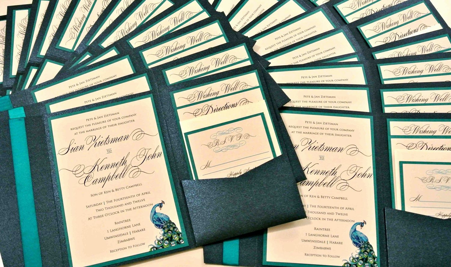 Peacock Feather Wedding Invitations Lovely Custom Peacock Feather Pocketfold Wedding by 1 Akindcustomdesign