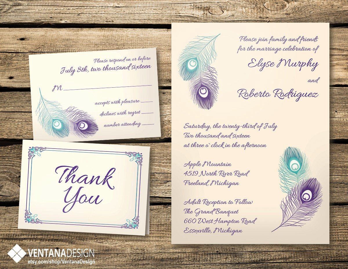 Peacock Feather Wedding Invitations Lovely Peacock Feather Wedding Invitation Set Digital by Ventanadesign